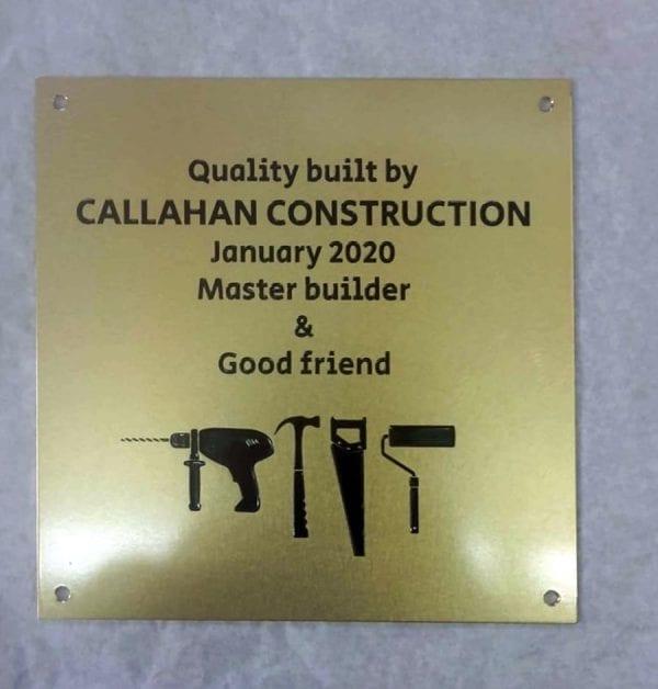 Construction brass plaque