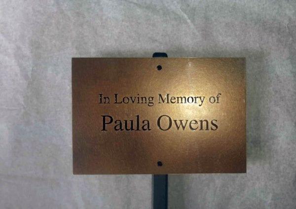 Memorial tree brass plaque