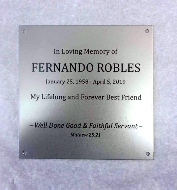 Memorial metal plaque