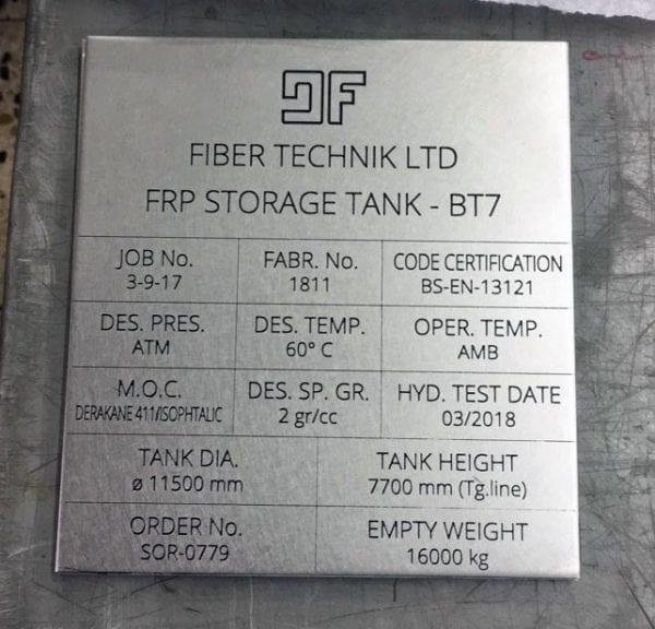 Industrial metal plaque