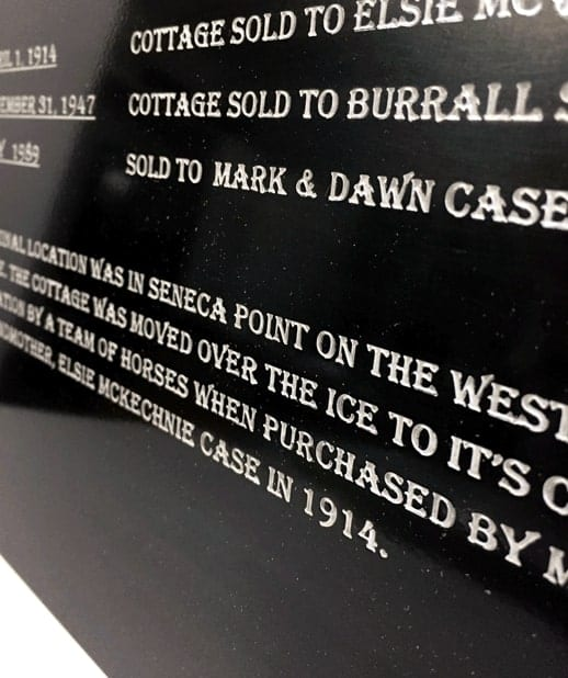 Blackened brass dedication plaque