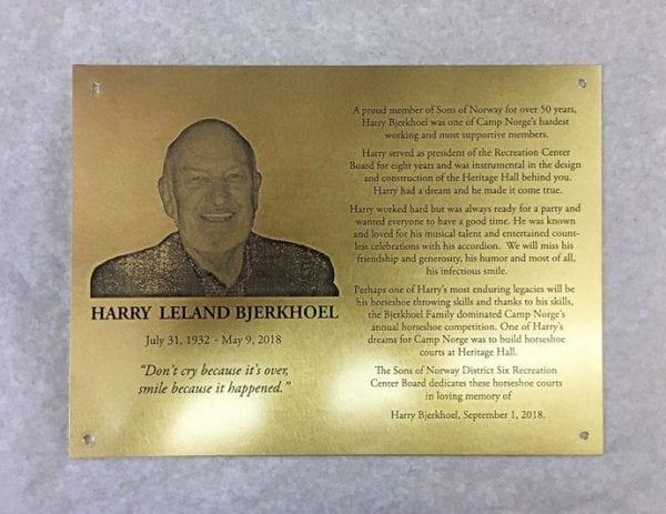 Portrait image memorial plaque