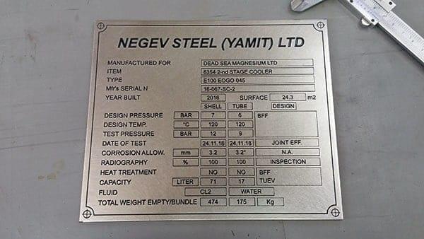 Industrial stainless steel metal plaque