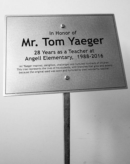 Memorial garden tree plaque on metal stake