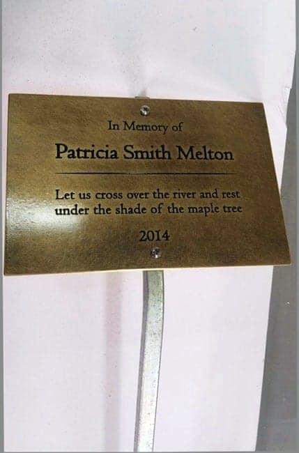Brass Memorial Tree Plaque on Metal Stake