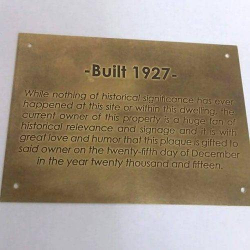 Brass outdoor property plaque