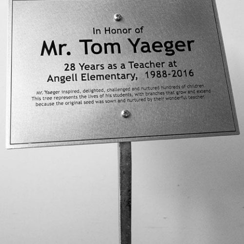Memorial garden tree plaque on metal stake